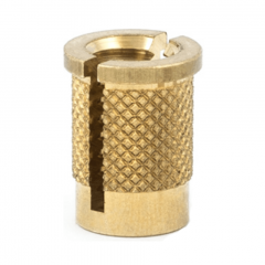 2-56 UNC x 0.156 PlastiSert Press-Fit Threaded Insert For Plastics - Flanged - Top Slot - Brass