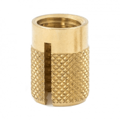 2-56 UNC x 0.156 PlastiSert Press-Fit Threaded Insert For Plastics - Flush - Bottom Slot - Brass
