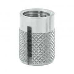 3/8-16 UNC x 0.625 PlastiSert Press-Fit Threaded Insert For Plastics - Flush - Bottom Slot - 303 Stainless - Made in USA