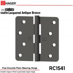 Hager 1541 US10R Full Mortise Hinge Stock No 035343