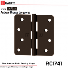 Hager 1741 US10A Full Mortise Hinge Stock No 033514