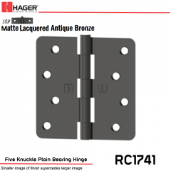 Hager 1741 US10R Full Mortise Hinge Stock No 041567