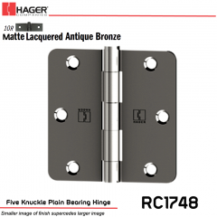 Hager 1748 US10R Full Mortise Hinge Stock No 016929