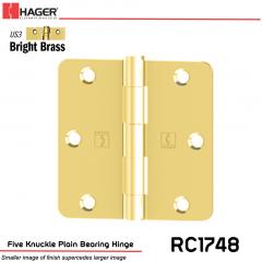 Hager 1748 US3 Full Mortise Hinge Stock No 030693