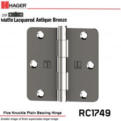 Hager 1749 US10R Full Mortise Hinge Stock No 016902