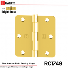 Hager 1749 US3 Full Mortise Hinge Stock No 033529