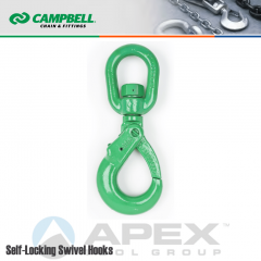 Campbell #5799095 5/8 in. Cam Alloy Self-Locking Swivel Hook - Grade 100 - Painted Green