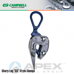 Campbell #6423500 GX Sharp Leg Plate Clamp - 1/16 to 5/8 in. Grip Range - 1/2 Metric Ton WLL