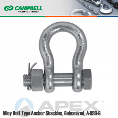 Campbell #6402408 1/2 in. Bolt Type Anchor Shackles - 1-1/2 Ton WLL - 316 Stainless Steel - Electro-Polished