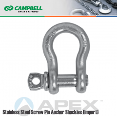 Campbell #6402106 3/8 in. Screw Pin Anchor Shackles - 3/4 Ton WLL - 316 Stainless Steel - Electro-Polished