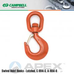Campbell #3953215PL #12 Swivel Hoist Hook w/Latch - 15 Ton Wll - Alloy Steel - Painted Orange