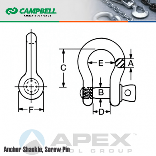Campbell 419-S Screw Pin Anchor Shackles 1-1//4 Trade Painted Blue 12 ton Working Load Limit Drop-Forged Carbon Steel