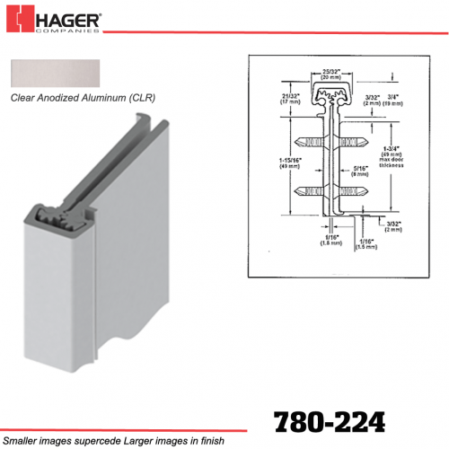 Concealed Leaf 83 Length Pack of 1 Clear Anodized Hager 780-224 Series Aluminum Heavy Duty Fire Rated Roton Continuous Geared Hinges