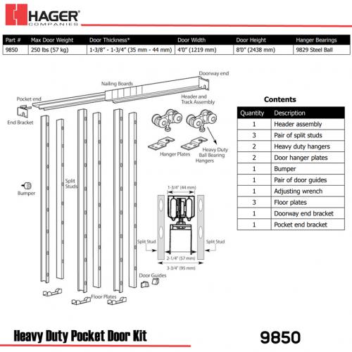 doorway schematic hager 9850 8 1 2 ft heavy duty pocket door kit stock no 139085  heavy duty pocket door kit stock no 139085