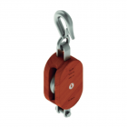 4 in. Regular Wood Shell Block Single Sheave - WLL 1000 lb - Hook w/Latch - 1/2 in. Manilla Rope