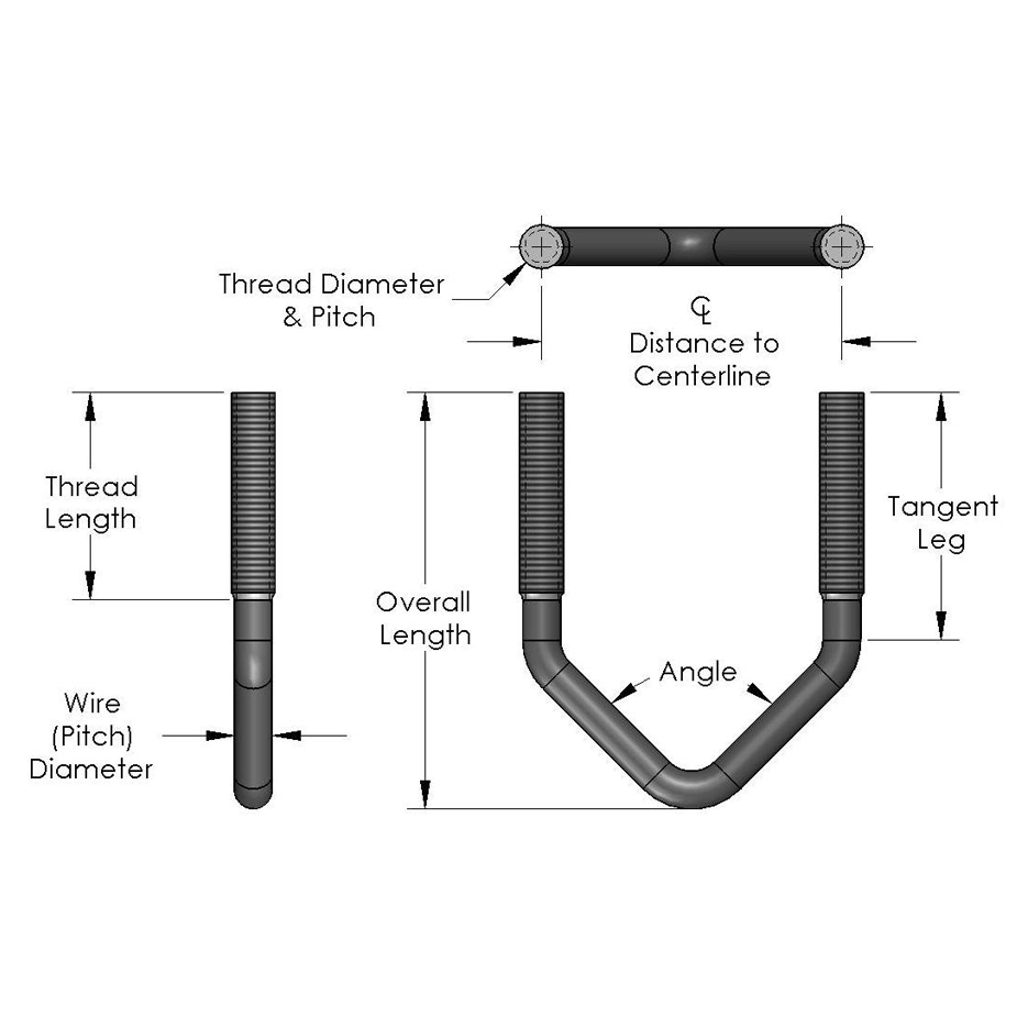 Custom U-Bolts: Square Bend with Unequal Legs