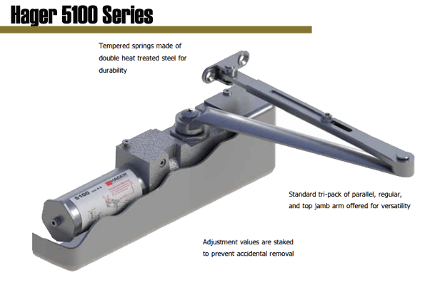 Hager 5100 Series Grade 1 Heavy Duty Surface Door Closer