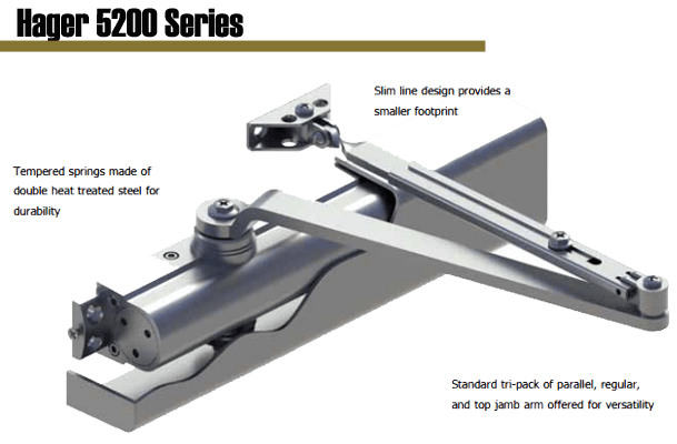 Hager 5200 Series Grade 1 door closer is ideal for schools, hospitals, and other high abuse and high traffic environments. It isconstructed of an aluminum alloy and provides smooth door control. The 5200 Series door closer is easy to install and maintain--keeping your building safe and secure.