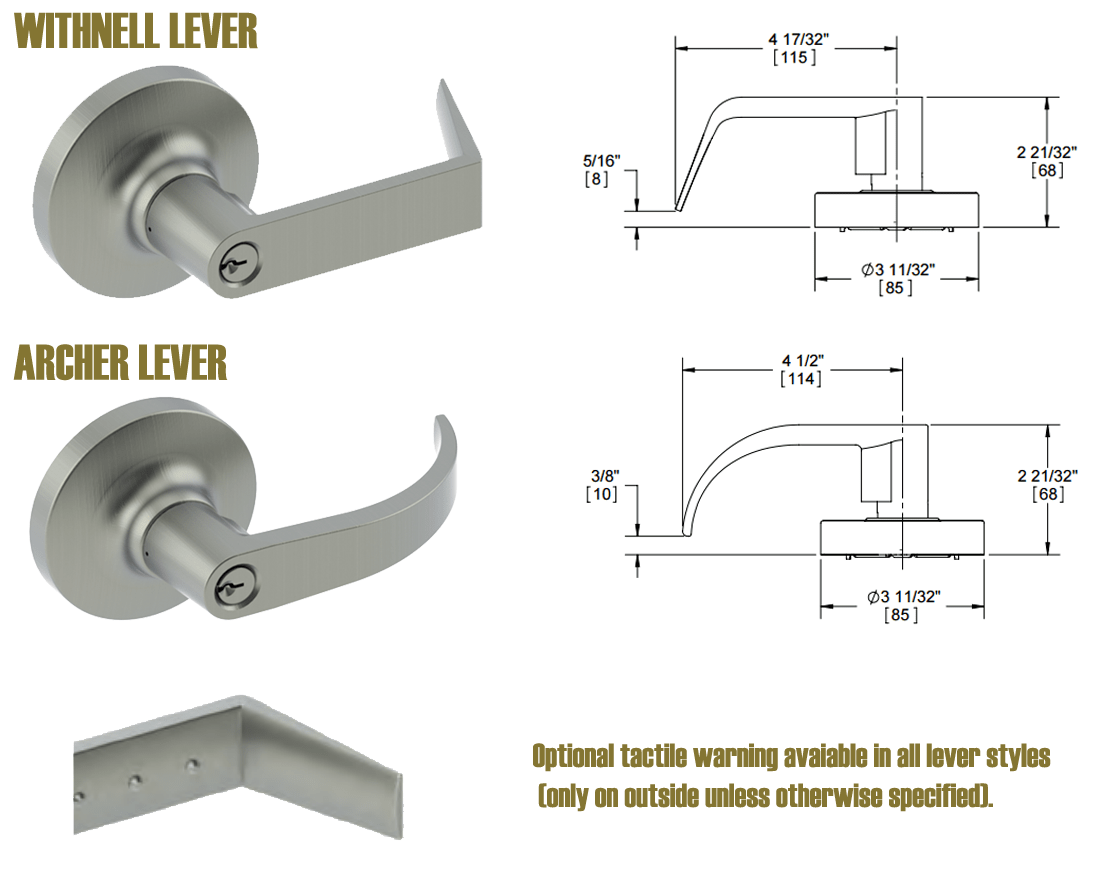 Hager 2500 Series lever and knob options; Lead lined and Tactile warning.