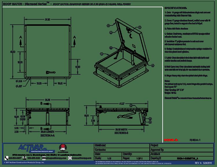 Jl Industries Aluminum Roof Hatch Rhda 1 Rha 1 36 In