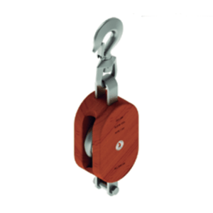 Single Sheave Wood Shell Block With Swivel Hook w/Latch