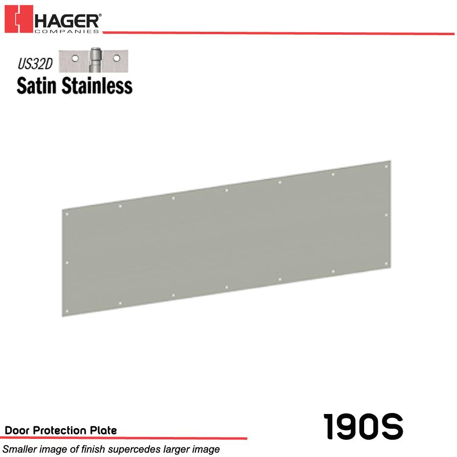Door Kick Plate Satin Aluminum Mounting Holes Fasteners Kickplate 6 x 34 in