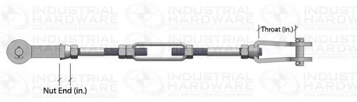 Tie Rod Assembly Throat and Nut End Dimension